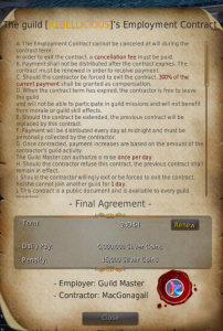 Example of a guild contract in Black Desert Online